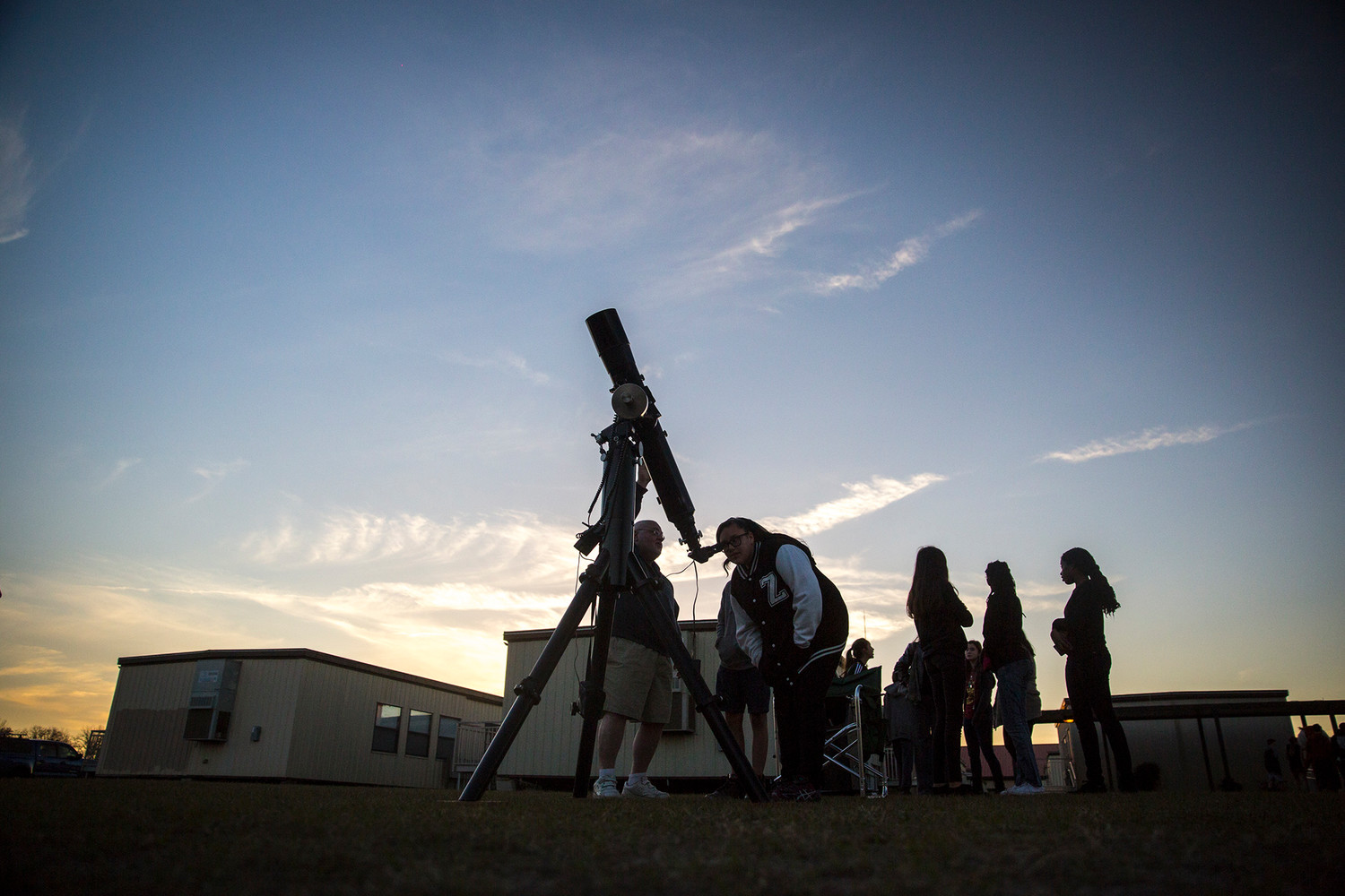 Participants in the first Starlight Night at Lake Asbury Junior High School looked through a variety of telescopes provided by the Northeast Florida Astronomical Society.