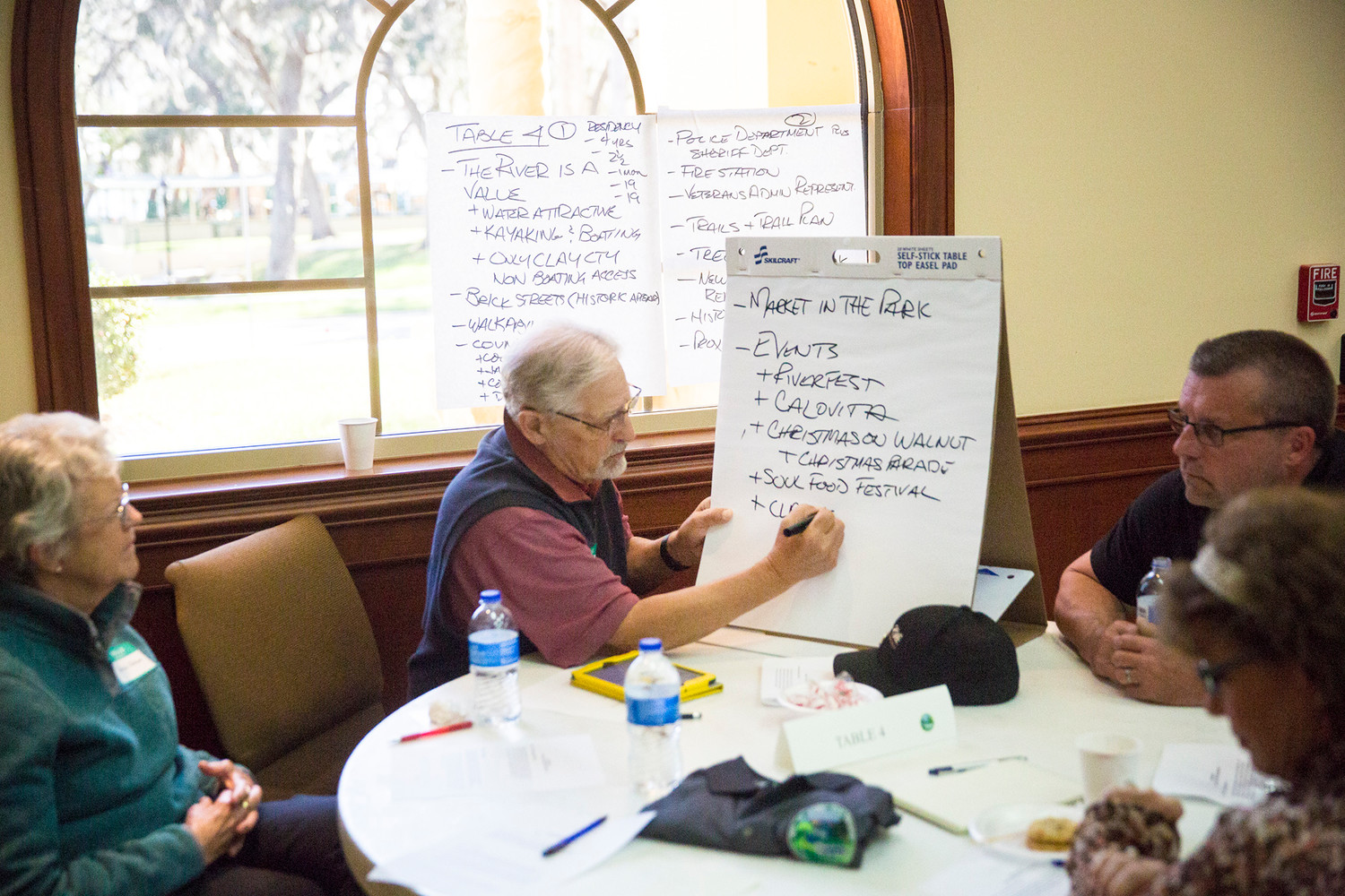 Former Green Cove Springs Mayor Bob Page lead his table in discussion Saturday at city hall during a visioning session held for the public to present the City Council with some guidelines for where they want to see their city headed by 2025.