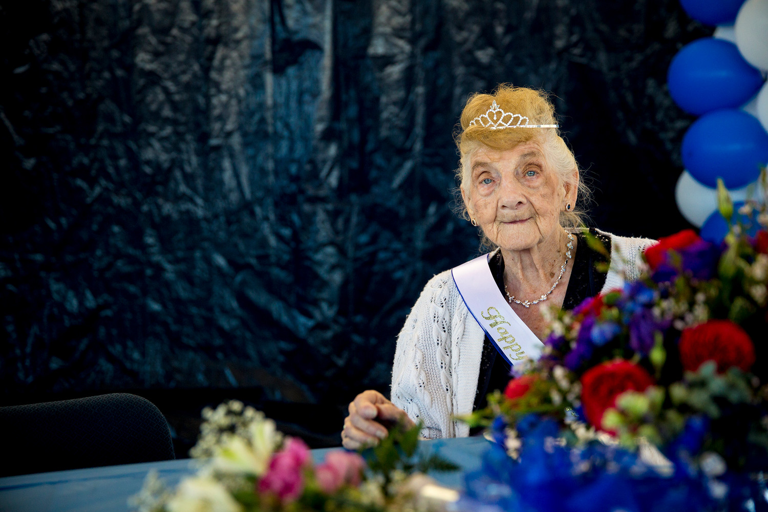Rachel Buff sits at the head table Friday morning during her 100th birthday celebration held by her many friends in Keystone Heights where Buff lives.