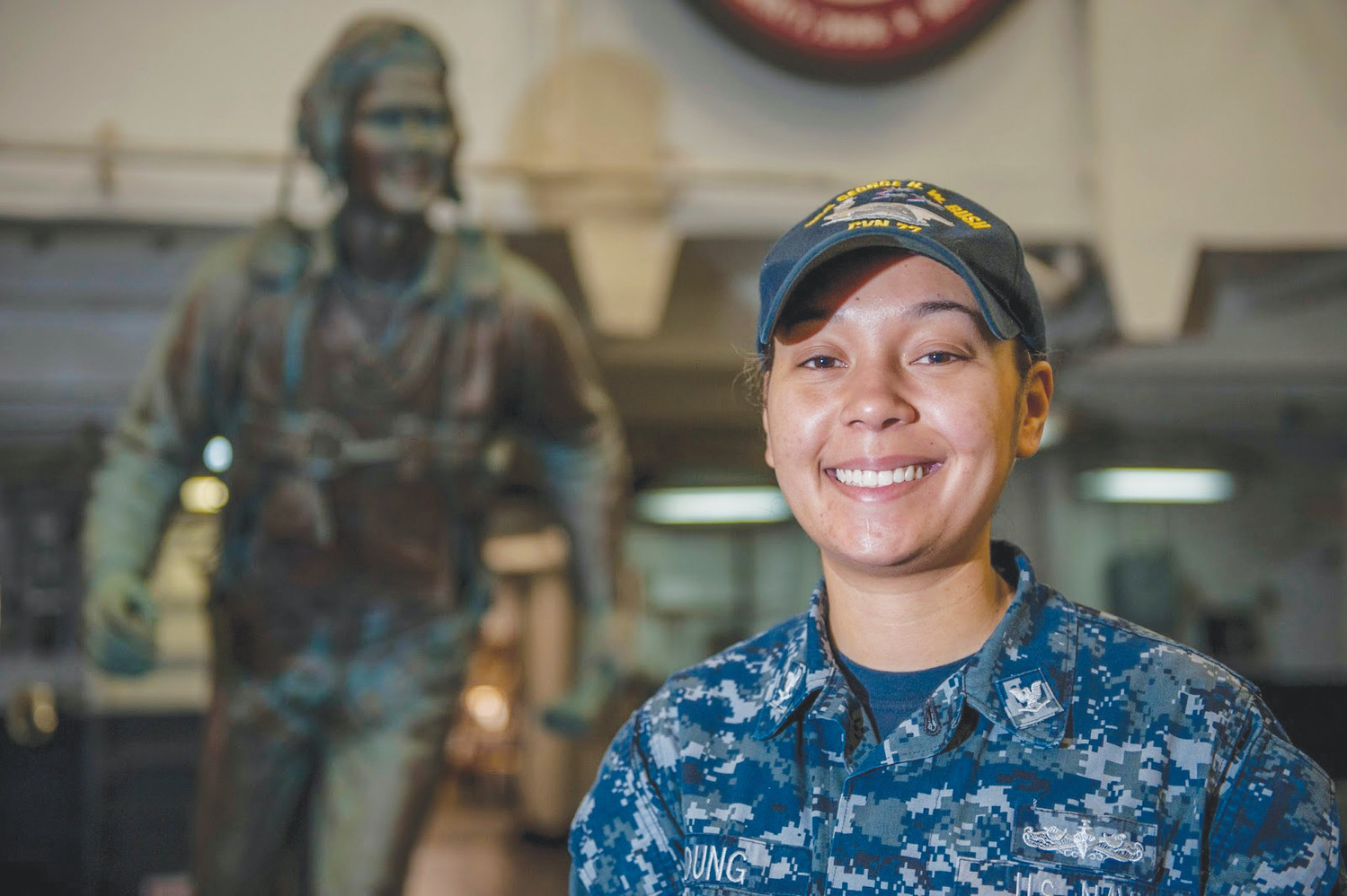 Petty Officer 3rd Class Kiahna Young, a 2012 Orange Park High grad, proudly serves aboard the carrier USS George H.W. Bush.