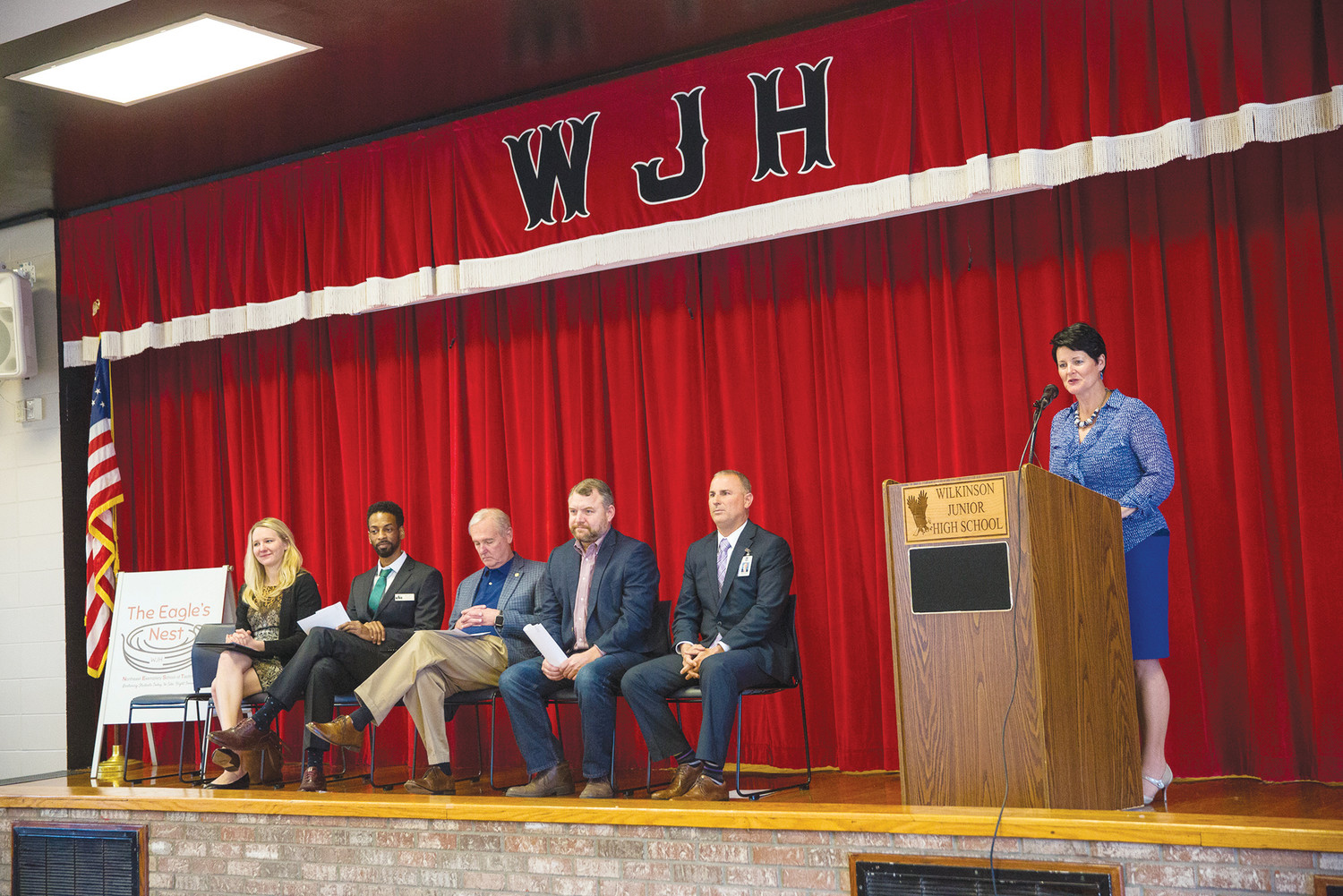 Wilkinson Junior High School Principal Christina Cornwell introduces speakers last week at the school during an announcement that Wilkinson will be the first state-funded Community Partnership School in Clay County.