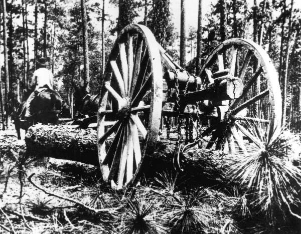 The logging industry depended on crude carts and the muscle of men and mules to recover after the Civil War.