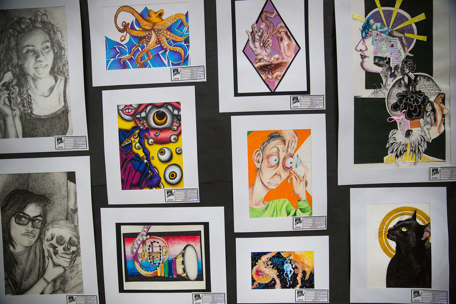 Art ranging from paintings and drawings to more involved sculpture and mixed media pieces hung during the annual student art show at the mall featuring work from schools throughout Clay County from high school all the way down to Kindergarteners' work.