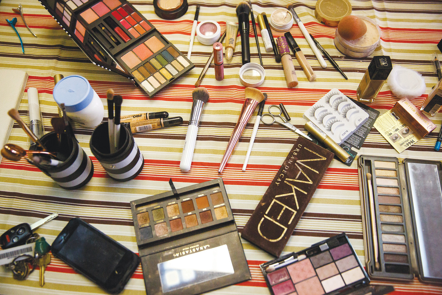 An array of makeup items sit in the front lobby of the Answers women's organization in Keystone Heights during the free hair and makeup initiative hosted by the organization prior to the Keystone Heights High prom.