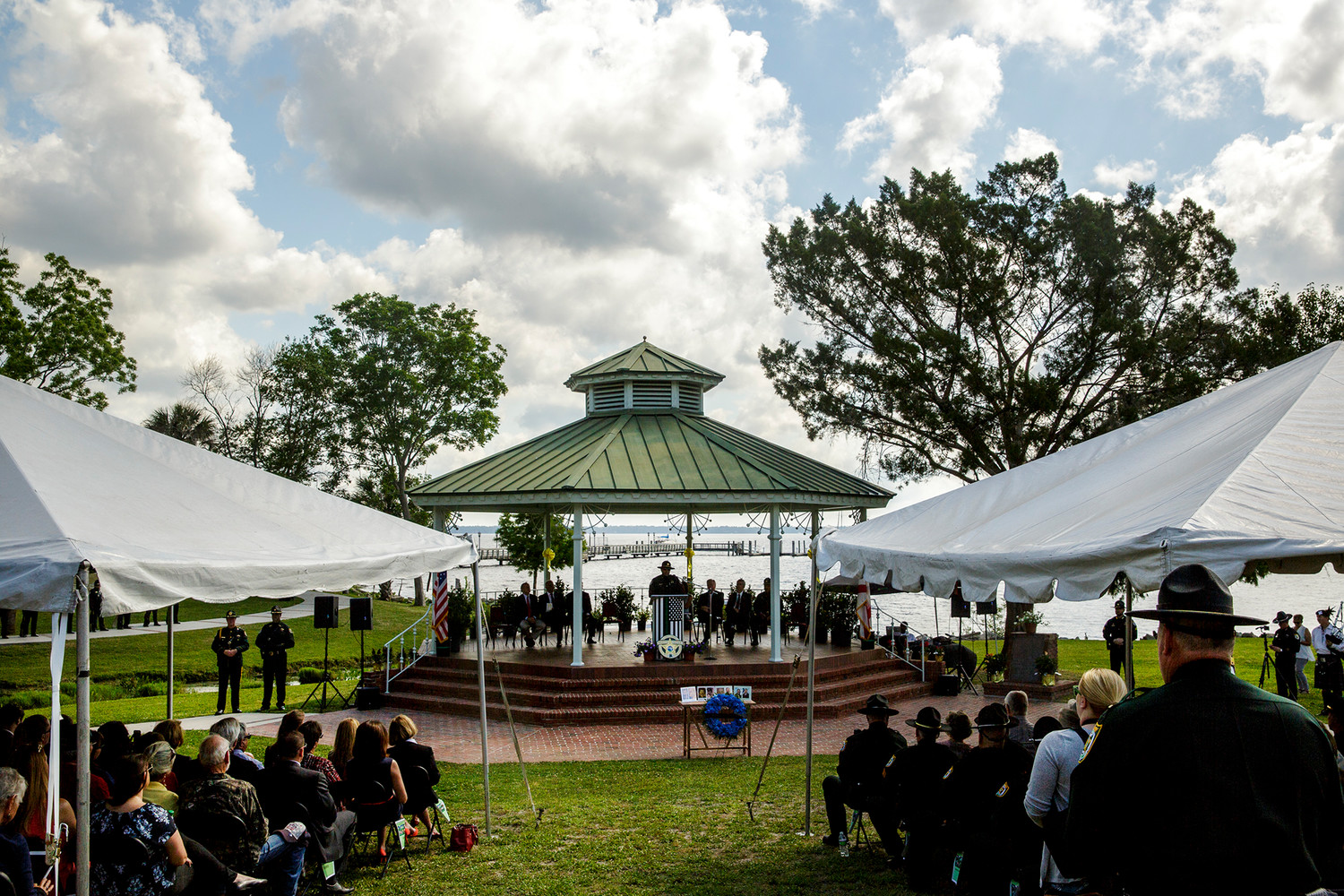 Clay County Sheriff Darryl Daniels speaks on what it means to take an oath to the audience at Spring Park in Green Cove Springs Tuesday morning during the annual Police Memorial Service.