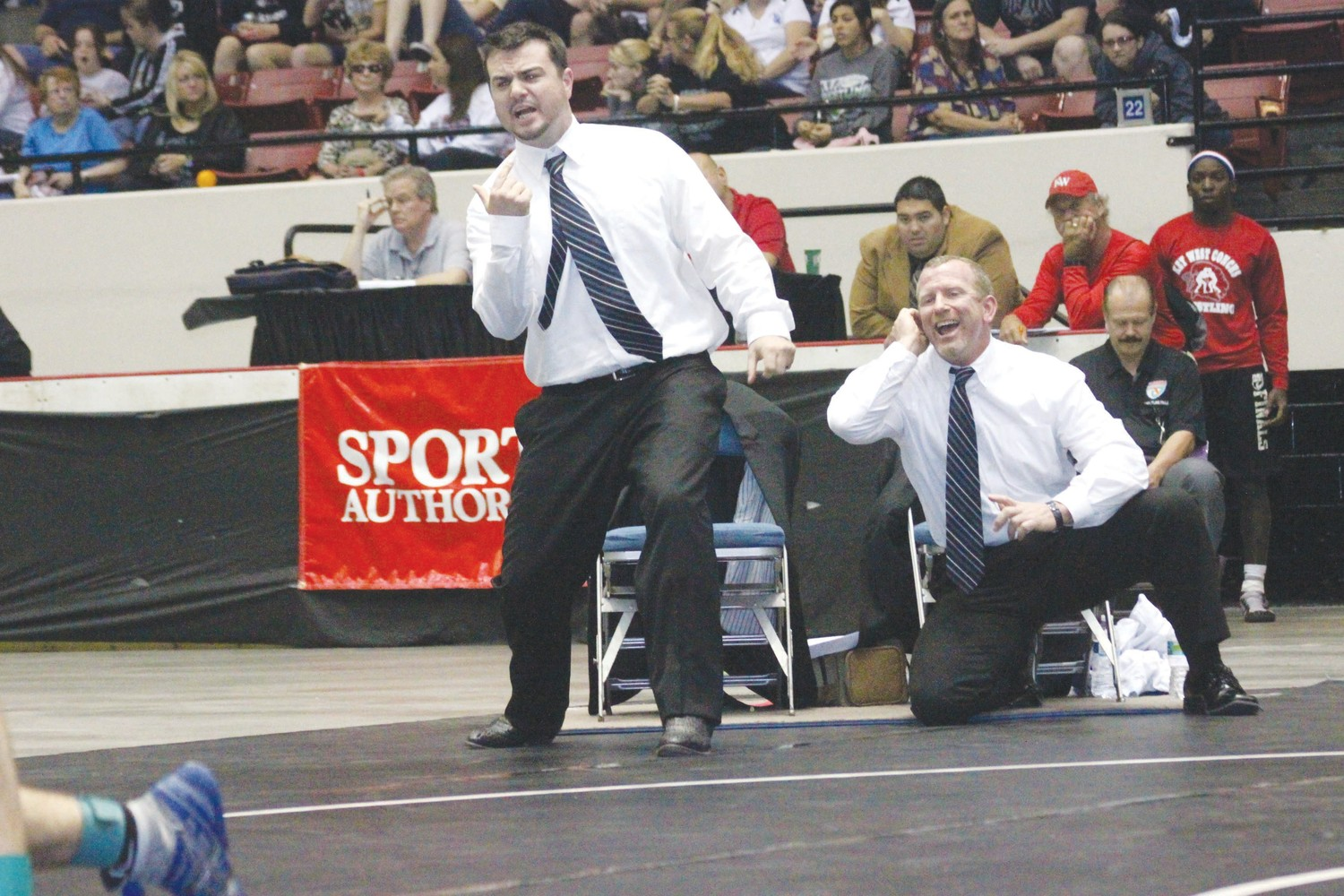 Clay High's wrestling dynamic duo; coaches Hunter Hill, left, and Jim Reape will switch chairs in 2018 with Reape, a 25 year head coach, stepping down and Hill, long-time 