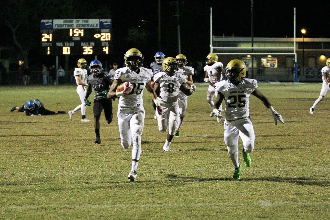 Fleming Island High defensive back Eugene Oglethorpe's interception touchdown against Robert E. Lee was key play that extended Golden Eagles to region finals in 2017.