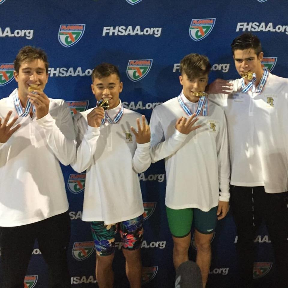 Fleming Island High's 4 x 50 freestyle team; Nick Hackett, Jack Neeley, Andrew Heinton and Jacob Thompson answered the call for a third gold medal.
