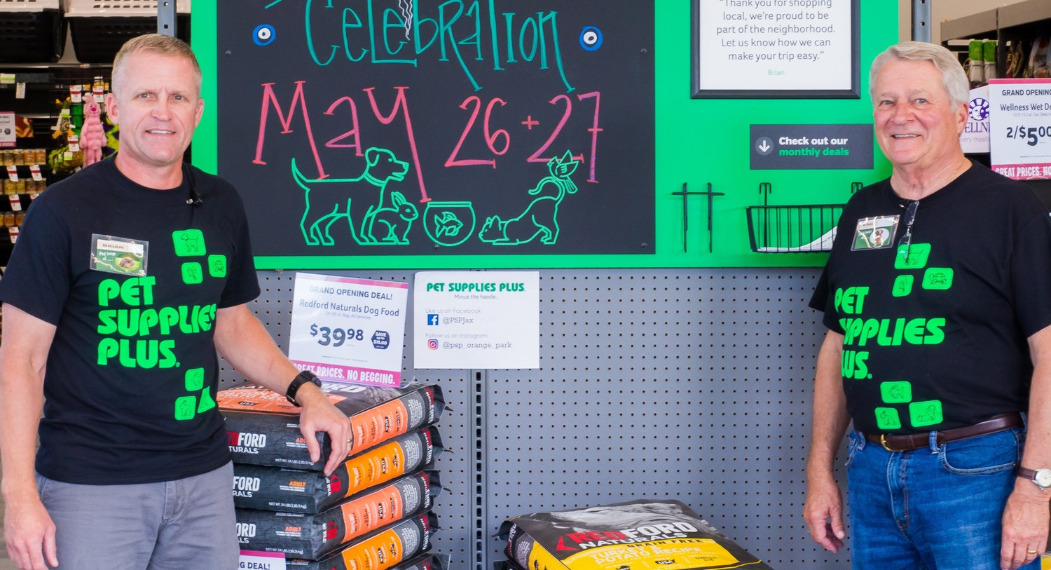 Brian Rolf, left, and his father Eric Rolf, had dreamt about going to business together for years and have done so by co-ownership of two Pet Supplies Plus stores. On May 26, the duo opened its second store on Blanding Boulevard near Orange Park.