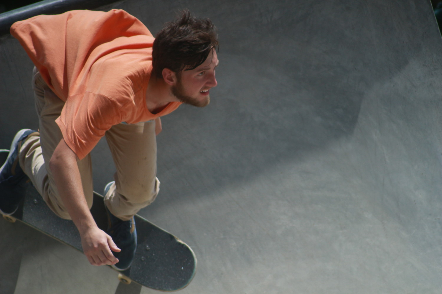 Bill Russey, of Tennessee, dips in and flies down a bowl into his next move in the OP Skate Park Best Run competition held Sunday afternoon.