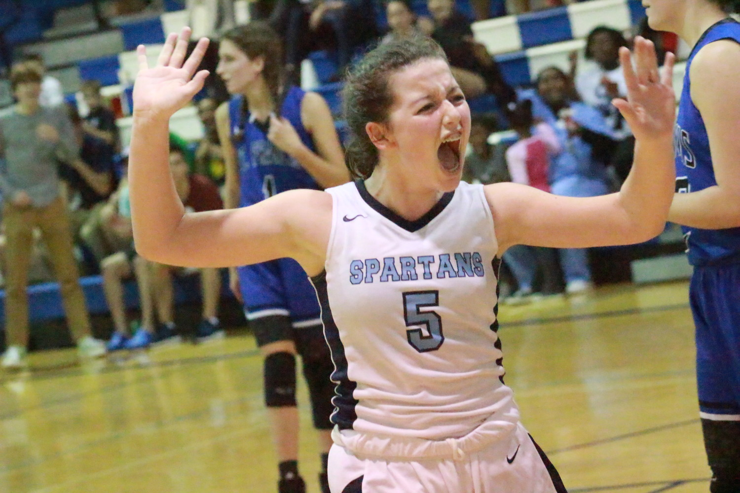 St. Johns Country Day School freshman guard Maggie Kent drilled the key three-pointer in a tight district semifinal win that put the Lady Spartans in their district title game.