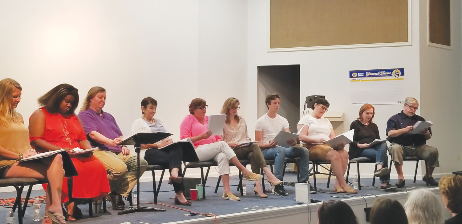 "Professional actors took the stage June 16 at the NAPA building on Wells Road for a reading of ""The Memories of Ruby Mae"" by local playwright Olivia Gowan. Elaine Smith, producing artistic director for Clamour Theatre Company is sitting on the stage, front center."
