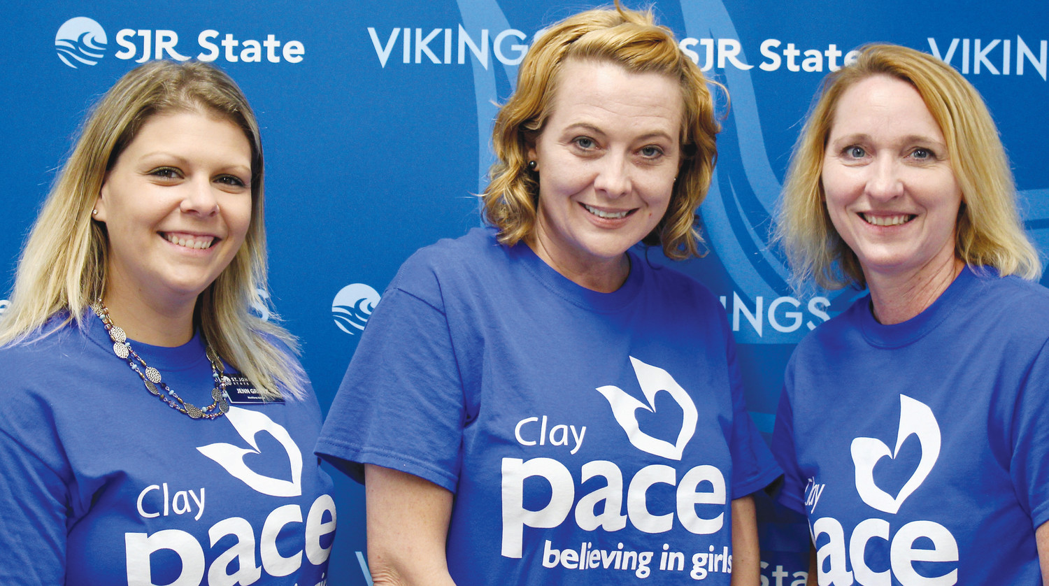 From left, Career and Technical Education Advisor Jennifer Griner, Executive Director of Pace Clay Destani Shadrick, Executive Director of SJR State College Orange Park Campus Anna Lebesch.