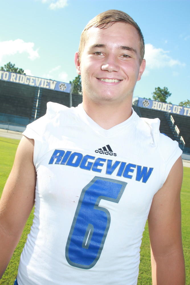 OFFENSE: Tyler Huff, Senior, QB, Ridgeview High. Tyler Huff, in an opening game against 5A-powerhouse Nature Coast, used his prolific passing arm to 190 yards and two touchdowns. Huff also ran for a score in the 30-27 win.