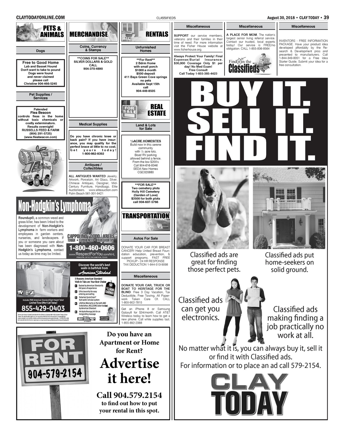 Classifieds 8/30/18   Clay Today