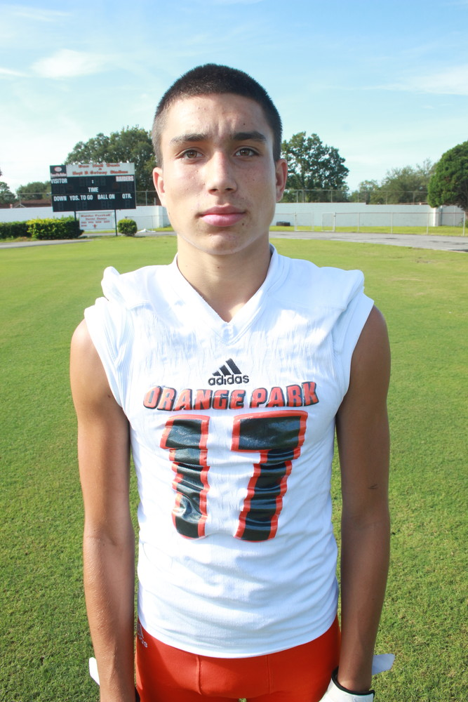 "OFFENSE: Diego Soto, Junior, WR, Orange Park High. Diego Soto, a roster backup wide receiver, caught four passes for 95 yards; two for scores in the Raiders' 35-20 win over 7A-Atlantic Coast. Soto is just 5'-4"", 125 lbs."