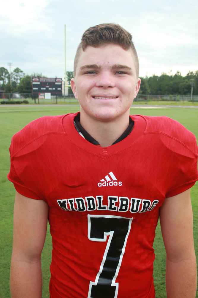 OFFENSE: Joe Justino, Junior, QB/K, Middleburg High. Justino orchestrated a 22-13 upset over the highly-regarded Ridgeview High Panthers with 97 yards rushing and 89 yards passing with one touchdown. Justino also had a 38 yard punt average, kicked two PATs and scored on a two-point conversion.