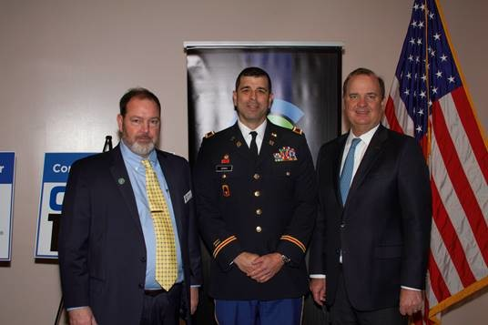 Pictured (l-r) JJ Harris, Economic Development President Clay County, Colonel Frank Zenko and George Egan, Board Chair Clay EDC.