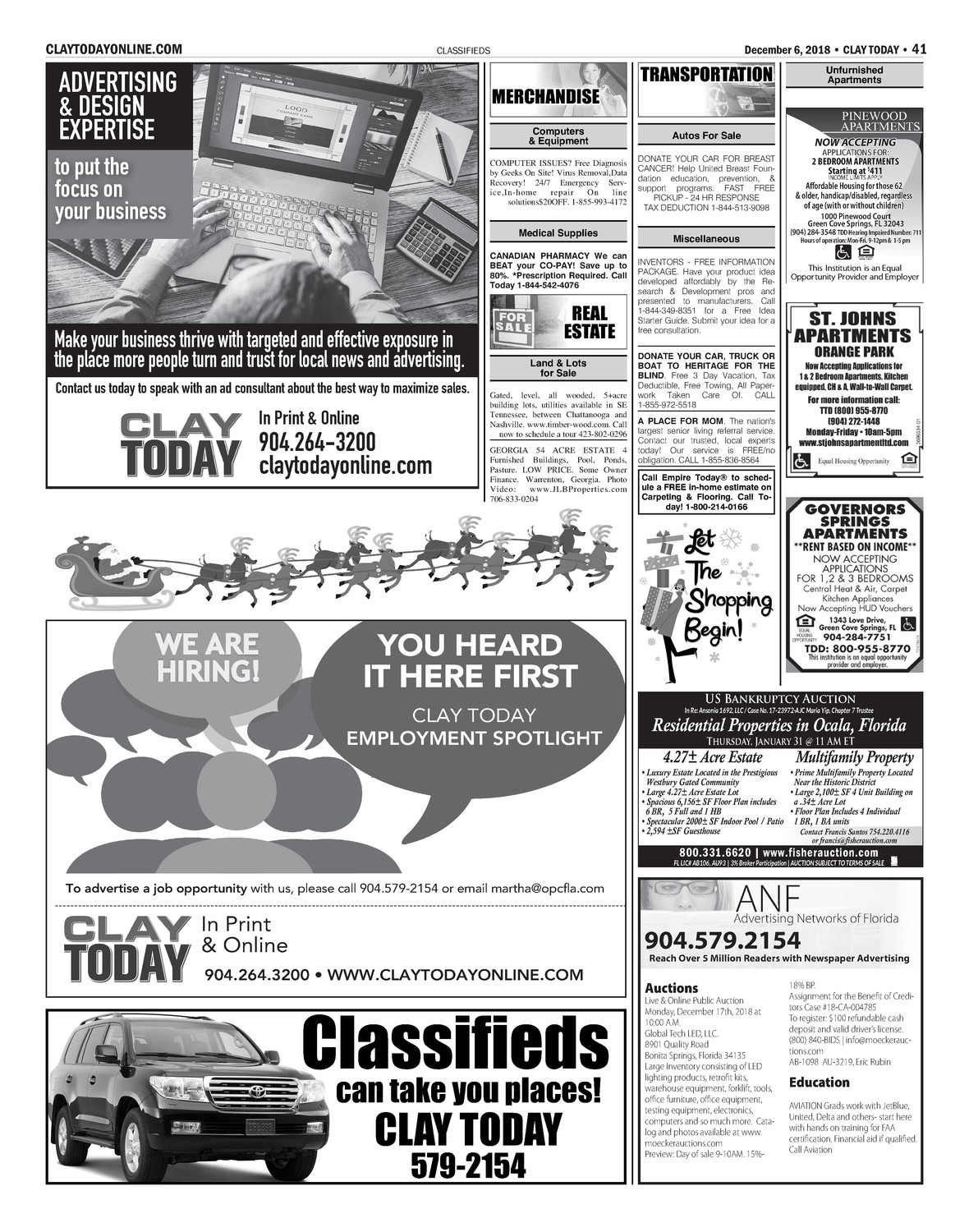 Classifeids 12/6/18 | Clay Today