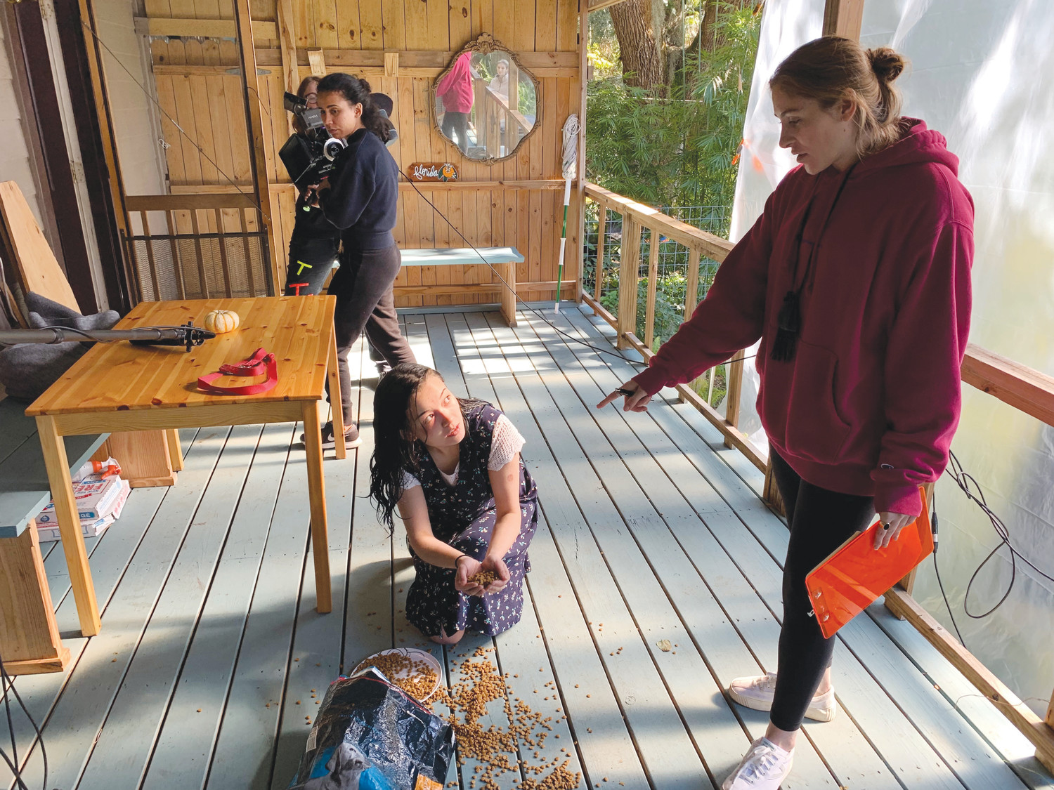"Actress Isabel Mar takes scene direction from Kaili Torres, a former soccer standout at St. Johns Country Day School, who was in the area last weekend shooting her film ""Pancakes."""
