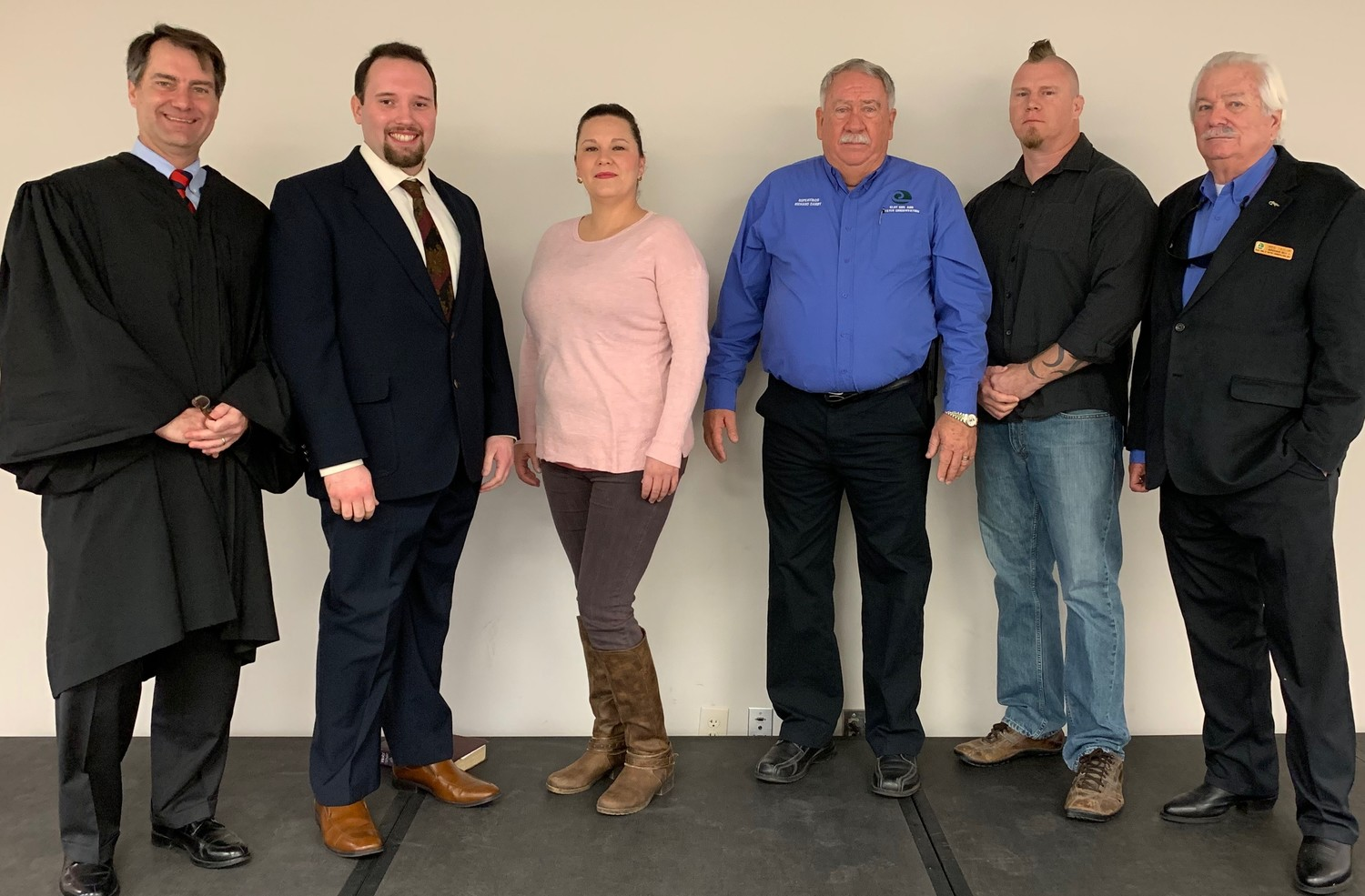From left, Fourth Judicial Court Judge Michael Sharrit, Seat 2 Supervisor Ted Clark, Cassandra Shaw, Richard Darby, Michael Cassidy and Wes Taylor.