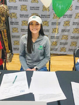 Oakleaf High pitcher Cambria Arturo will bring her powerful arm to Jacksonville University. Arturo and teammate Madyson Davis will be strong pitching pair for Lady Knights as they try for a third consecutive Class 8A final berth.
