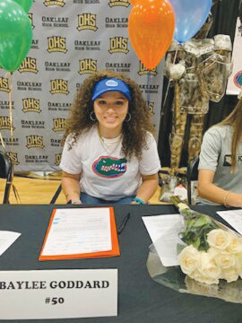 Oakleaf High third baseman Baylee Goddard signed to play at the University of Florida; twice the NCAA champions.  Goddard has been strong bat for Lady Knights state title in 2017 and state runnerup in 2018 in Class 8A.