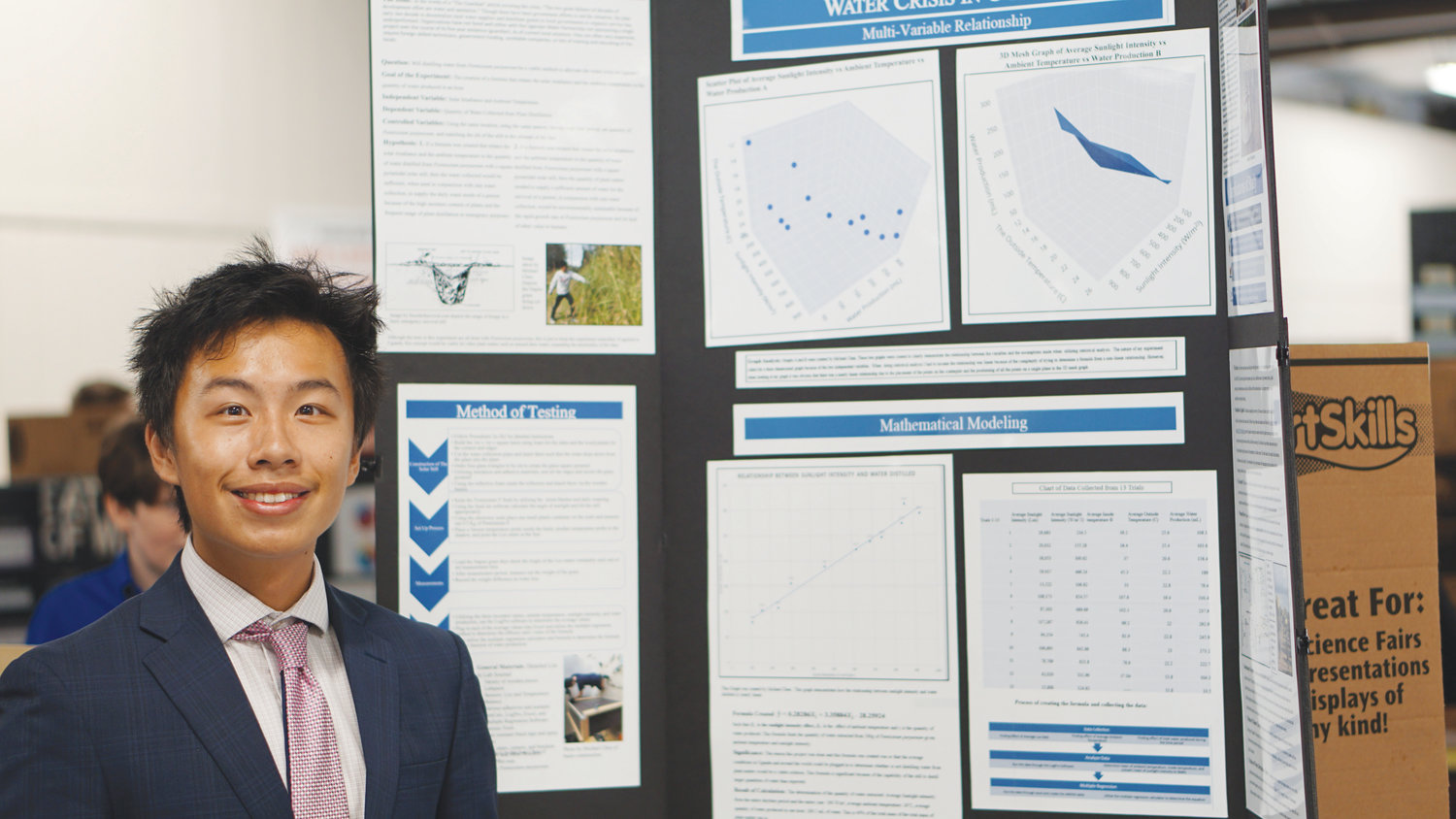 Ridgeview High junior Michael Chen's science fair project tested the concept of whether enough water could be extracted from leaves in order to help developing countries suffering water shortages.