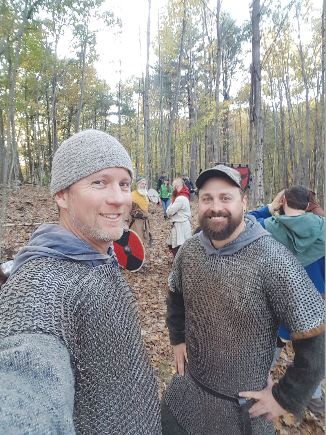 "From left, Mike Arbuthnot and Blue Nelson are shown here in New Hampshire learning about Viking fighting techniques with a living history group in preparation for their new show ""America's Lost Vikings"" on the Science Channel."