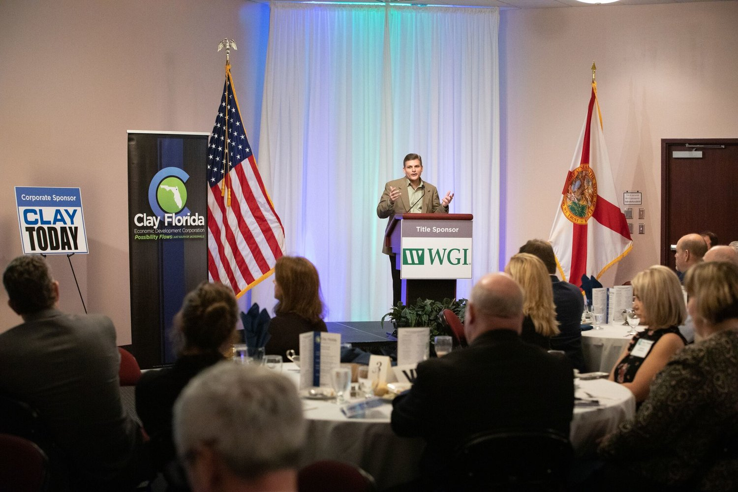 Jeff Sheffield, the Executive Director of Clay EDC and North Florida Transportation Planning Organization, addresses the Clay Florida Economic Development Corporation's Quarterly Meeting last week.