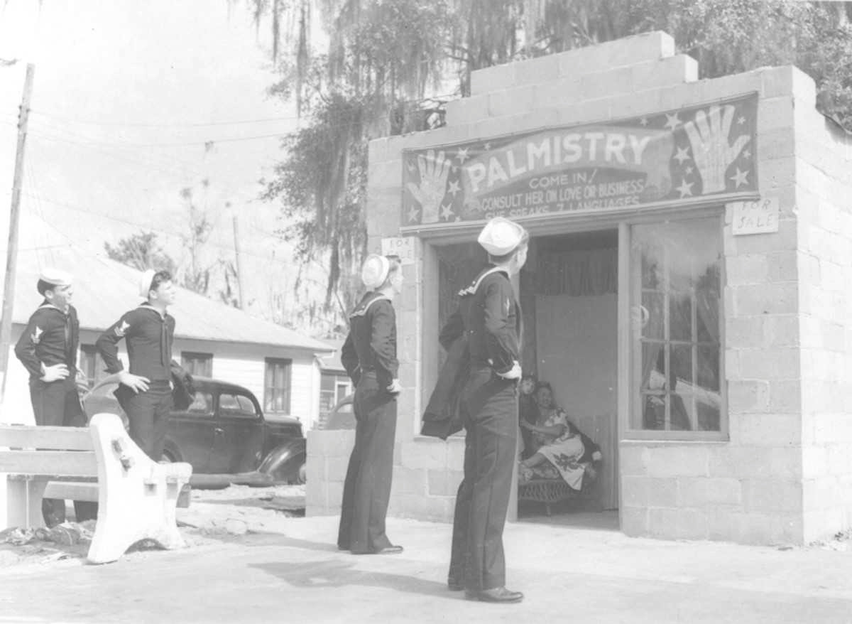 Cutline: The opening of Lee Field in 1939 more than doubled the population of Green Cove Springs and brought new business to the community like the fortune-telling establishment on U.S. Highway 17.