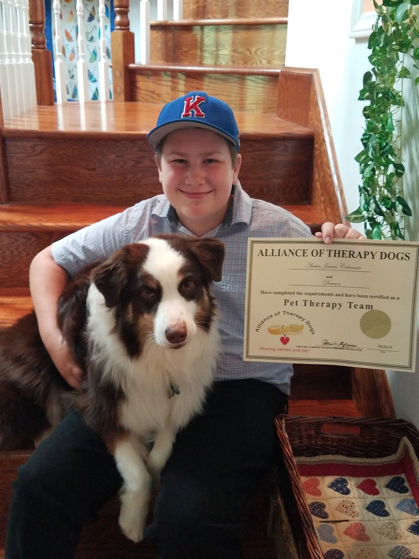 K H  boy, 13, becomes certified junior handler for rescue dog | Clay