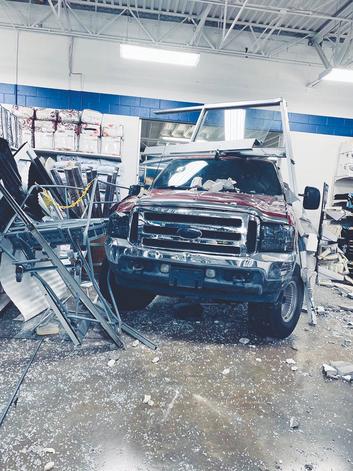 Evans' truck finally came to rest 30 feet inside the store.