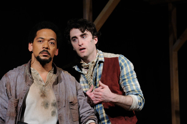 Joe Wilson, Jr. as Jud Fry and Charlie Thurston as Curly, in Trinity Rep's Oklahoma!, now through June 5.