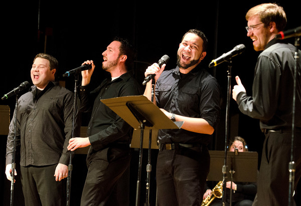 "Gary Ryan, Adam Cavalieri, Kevin Silva and Dan Masterson (from left) sing ""Greased Lightnin'"" from ""Grease."""