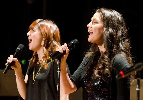 "Emma Boron (left) and Anne Kirksted sing ""I will Never Leave You"" from the musical, ""Side Show."""