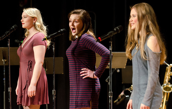 "Mary Sheehan, Lily Ferreira and Abby Moore (from left) perform ""Mama I'm a Big Girl Now"" from the musical, ""Hairspray."""