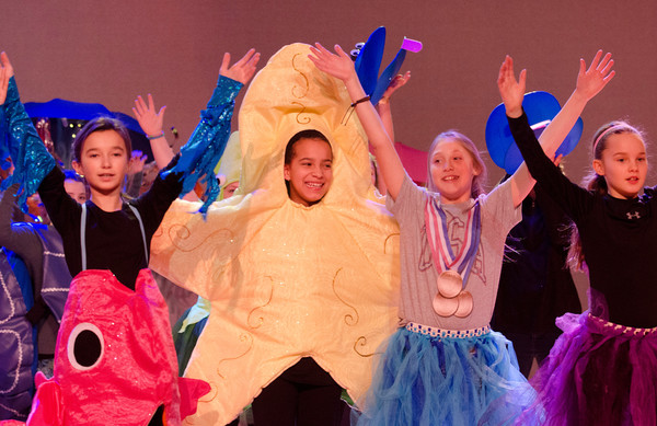 Sea creatures from left, Isabel Saladino, Angelina Manville, Madison Plourde and Caitlyn Greenhalgh dance to Under the Sea.