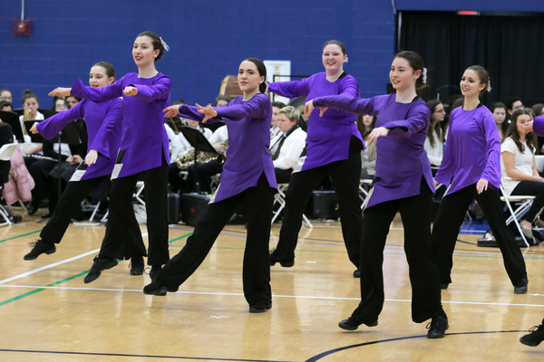 Members of the Mt Hope Color Guard run through a dance routine as part of the Marching Bands performance during the All Band Concert.