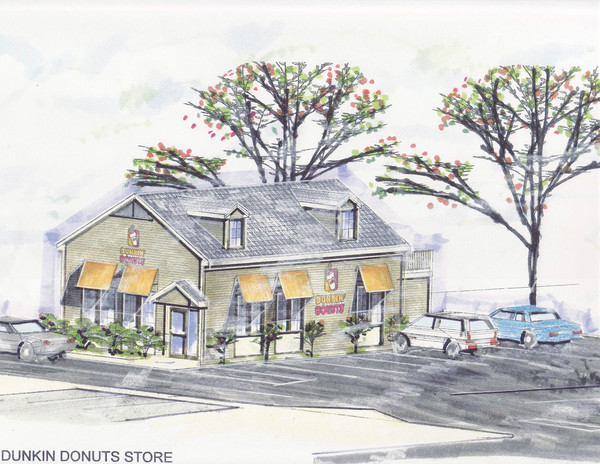 An artist's rendering shows the proposed Dunkin' Donuts in front of its existing location in Gooding Plaza.