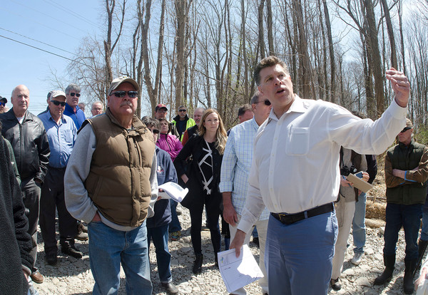 Twin River Mark Russo (right) answers questions during the tour.