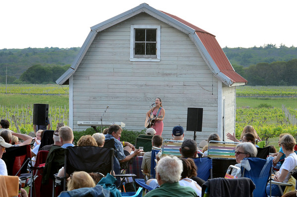 A performer entertains at sunset at Westport Rivers Vineyard and Winery.