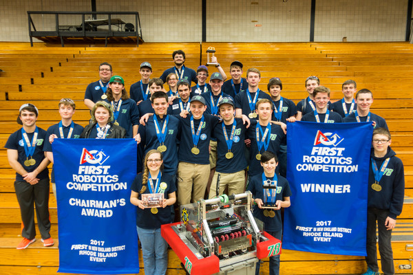 Team AIR STRIKE 78, from Aquidneck Island, is the only Rhode Island team that will compete in the FIRST Robotics Competition World Championship in St. Louis, Mo. on April 26 to 29.