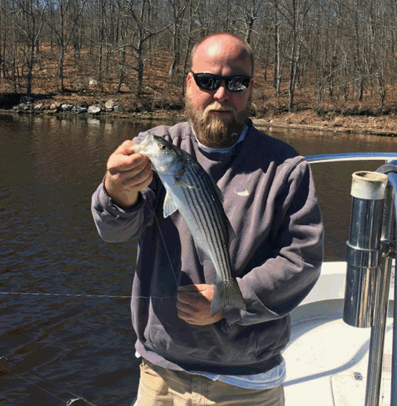 Jason Howell of Narragansett hooked up with school striped bass last week at Narrow River.