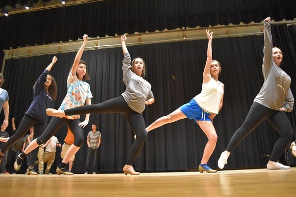 From left, Leilani Williams, Tova Ibbotson, Sarah Mello, Emily Caraveo and Madison McKenna work on a dance number from 'A Chorus Line.'