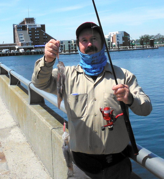 John Migliori with a double squid hit caught off the Goat Island causeway in Newport.