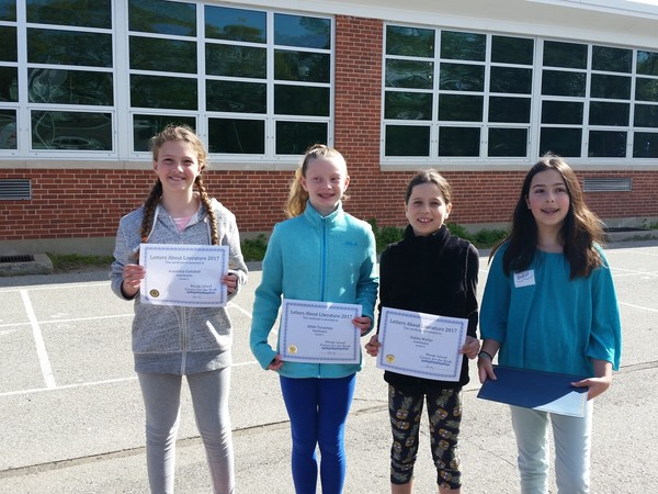 Four Hampden Meadows School fourth grade students were recently honored for their work in the Letters About Literature contest. They are (from left to right) Araminta Gaitskell (semifinalist), Abigail Terantino (semifinalist), Dahlia Weller (semifinalist) and Kendal Bazerman (state winner).