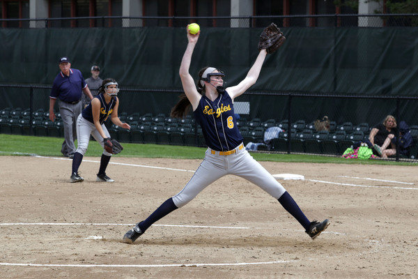 Junior Paige Concannon strikes out a North Smithfield batter during the first inning.