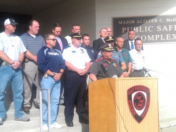 "East Providence Police Chief Joseph Tavares fronts a press conference in city Sept. 20 on the ""Bearded Bandit"" case."