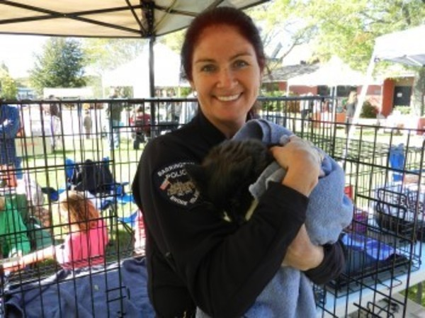 Animal control officer Patti Watson, with one cat still looking for a new home.